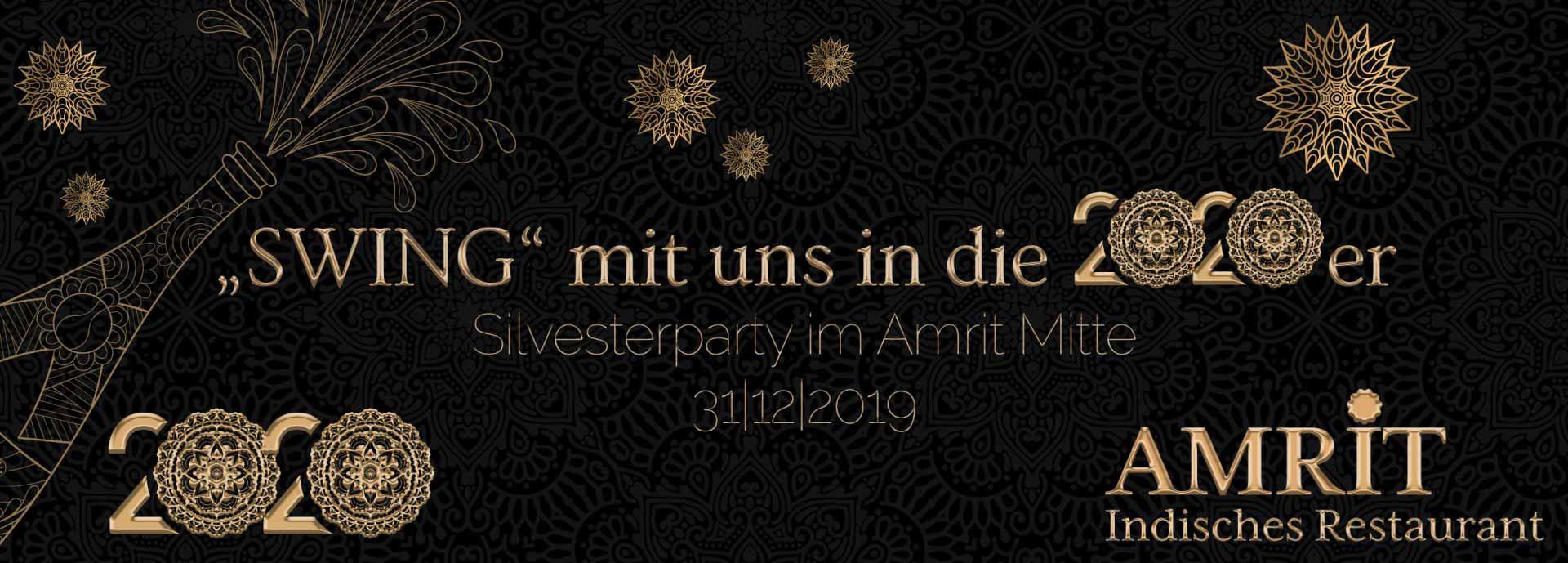 Amrit Berlin indisches Restaurant Silvester Banner